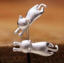 Korea Fashion Chic 3D Stereoscopic Cat Kitten 925 Silver Plated Mini Earrings