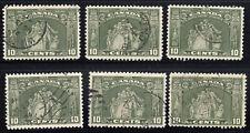 Canada: #209 10c Olive Green Loyalists 1934 CDS Cancels Used LOT (x6) f