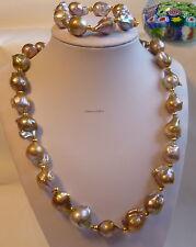 Silver Genuine 4+15-17mm baroque freshwater pearl necklace+bracelet L52 &19.5cm