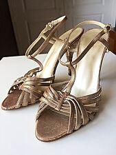 Dkny señoras Mujeres Diseñador Tacón Alto Sandalia Zapato Bronce Oro Talla 4 37 Insolia