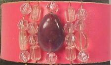 Hot Pink Cuff Bracelet Ashley Stewart Purple Clear Beads Mint on Card