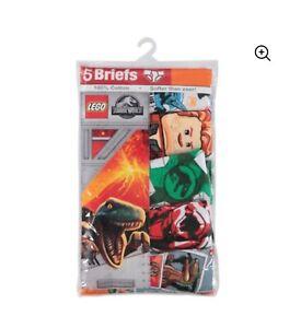 LEGO Jurassic World Boys Size 6 Briefs, 5 Pack Underwear