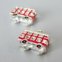 Red Double Decker Bus 17mm Silver Plated Enamel Charms  C1378 - 2, 5 Or 10PCs