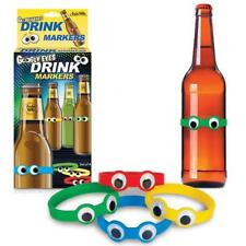 Googly Eyes Party Drink Markers! - Set of 4 Silicone Beer Bottle Bands!