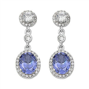 Halo Oval Hanging Earrings Simulated Tanzanite Clear CZ .925 Sterling Silver