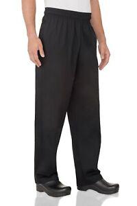 Chef Works Biggie Drawstring Pants Essential 3 Pocket Black Work Uniform