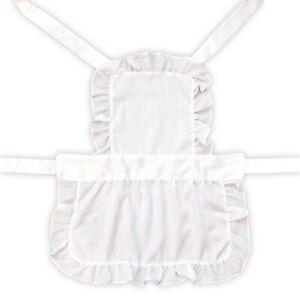 Kids White Victorian Maid Full Length Cooking Fancy Dress Up Costume Apron