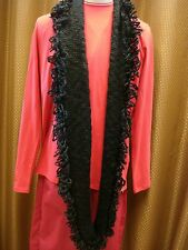 Fever, Scarf Circumference Cowl Long Wrap Shawl , Color Black, NEW