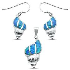 New Blue Opal shells .925 Sterling Silver Pendant & Earring Set