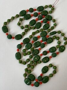 Vintage Czech Green Pressed Glass Scarab Flapper Bead Necklace 1920s