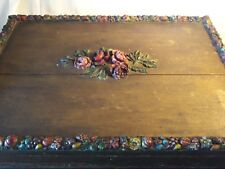 Painted Folk Wedding Chest~Raised Fruit~Floral Plaster Relief~Gessoed~Cake Decor