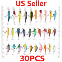 30x Fishing Lures Crankbaits Treble Hooks Minnow Crank Baits Tackle Bass Minnow