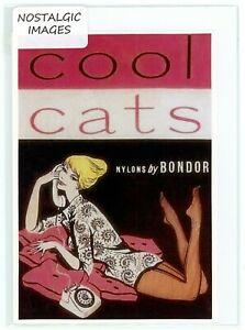 Nostalgic & unique 1960's 'Bondor Nylons' hand made greeting card. Blank inside.