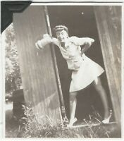 Young Woman Puts on Attitude in Country Shed Door Vintage 1940s Snapshot