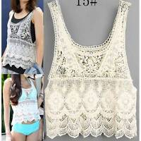 AU SELLER Bohemian Vintage Eyelet Crochet Lace Tank Top Bikini Cover Up t098-15