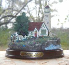 """Beacon Of Hope"" Lighted Lighthouse Mounted On Wood Base T.Kinkade Superb Detail"