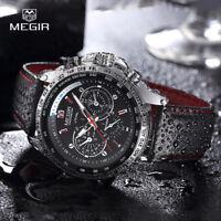 MEGIR Outdoor Pilot Military Black Dial Leather Strap Men Quartz Wrist Watches