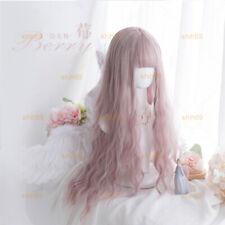 Daily Harajuku Lolita Pink Mixed Gray Full Wig Cosplay Girl Long Curly Hair