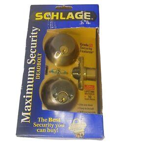 NOB Schlage Maximum Security Deadbolt Antique Brass Security Door Locks Home New