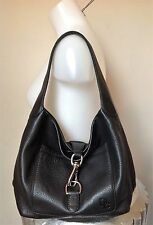 Dooney & Bourke Black Pebble Grain Annalisa Leather Hobo Slouch Shoulder Bag
