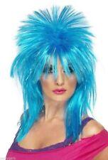 Sparkle Blue Rock Diva Mullet Wig Spikey Punk Rocker Heavy Metal Headbanger Rave