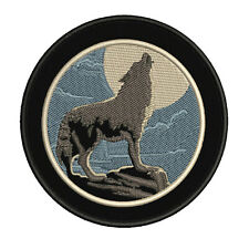Wolf Howling Moon Embroidered Patch Iron/Sew-On Applique Explore Travel Souvenir