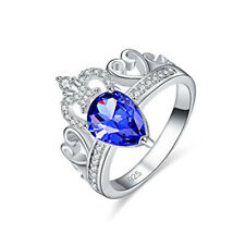 Fashion Trendy Girl women Sapphire Gemstone Jewelry Silver Ring Size 10