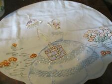 More details for vintage nightdress case hand embroidered crinoline lady