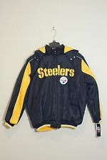 OFFICIAL NFL Pittburgh Steelers Thick Fleece Hooded Coat / Jacket by G-III
