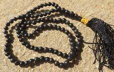 Black agate gemstone japa mala beads 108 beads ~ meditation, prayer
