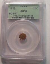 1873 BG-817 California Fractional Gold Round 25 Cent AU58 PCGS OGH