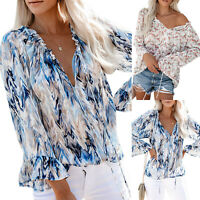 Womens V Neck Floral Lace Up Shirts Ladies Long Sleeve Loose Casual Tops Blouse
