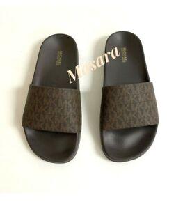 Women Michael Kors MK Gilmore Slide Slip On Sandals PU Mini MK Logo Brown