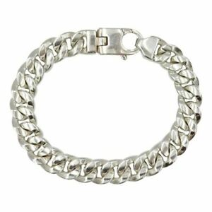 Sterling Silver 925 Stamped Curb Style Heavy Men's Bracelet 8inch 58g 10.8mm
