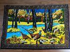 Vintage Pheasant Wall Art Tapestry Hanging Italy Hunting Lodge Bar Mancave Large