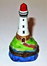 Limoges France Box~ Parry-Vieille ~Lighthouse~ Sailboat Clasp ~Birds~ Peint Main
