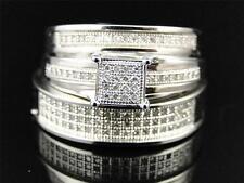 10K Mens Ladies White Gold Diamond Engagement Bridal Wedding Ring Trio Set .50Ct