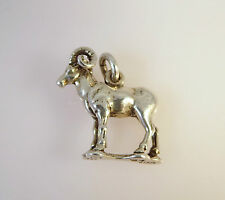 .925 Sterling Silver 3-D BIG HORN SHEEP CHARM NEW Ram Bracelet Pendant 925 AN09