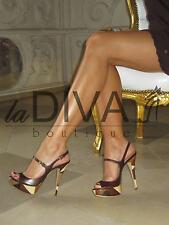 LORIBLU ~ Italy Leder Riemchen Sandaletten Pumps 36 braun beige High Heels
