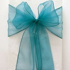 100 TEAL ORGANZA SASHES CHAIR COVER BOW SASH  SASHES FOR A FULLER BOW UK SELLER