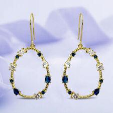 2.00 Ct Oval Blue Sapphire 14k Yellow Gold Earrings