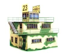 Military airfield control tower, laser-cut cardboard model kit 1:48