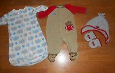 Baby Boy fleece sleeper gown hat mittens size 0-3 months, football *260