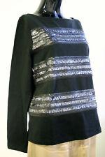 NEW Black BANANA REPUBLIC 100% Cotton Boxy Boat Neck Sweatshirt Black Sequins S