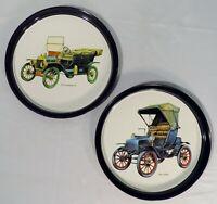 "Vintage Antique ""1911 Ford Model T"" & ""1904 Cadillac"" Tin Serving Platter Plates"