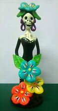 Colorful Clay Catrina Figure Mexican Handcraft Day of the Dead Handmade Pottery