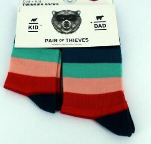 Twinsies, Pair of Thieves Dad(Size 8-12) Kid(18mo - 3yrs) Matching Striped Socks