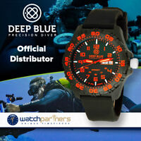 Deep Blue Daynight Diver Tritium watch Swiss movt. 200m WR Carbon Case Red