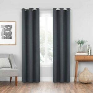 """(1) Eclipse Windsor Blackout Curtain Panel Charcoal Gray Polyester 42"""" W X 84"""" L"""