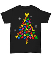 Mickey Mouse Tree Christmas Black T Shirt Men S-6XL Cotton